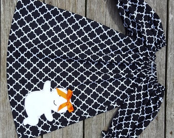 Fall 2016 Girl's Infants Toddlers Peasant Dress -  Black and White Quatrefoil with Cute Ghost Applique