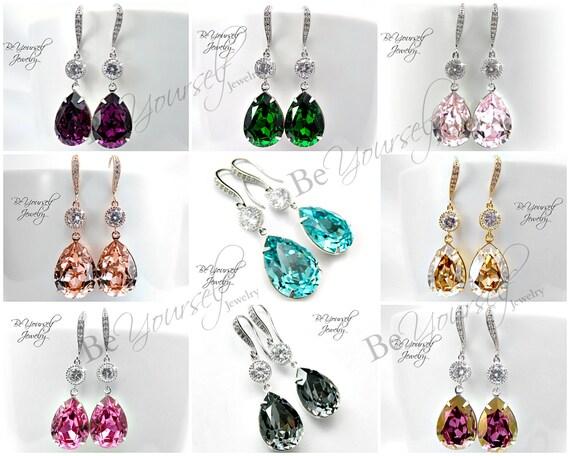 Crystal Bride Earrings Bridal Teardrop Earrings Swarovski Crystal Wedding Earrings Bridesmaid Gift Wedding Jewelry Choose Your Color Earring