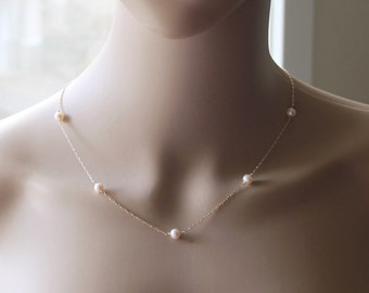 Genuine pearl necklace, 14K Gold fill pearl necklace, Rose gold pearl necklace, Bridesmaid necklace, Bridal necklace,  Gold Pearl necklace