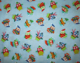 Owls Winter Scarves Hats Blue Owl Cotton Fabric Fat Quarter or Custom Listing