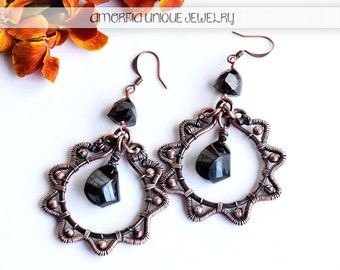 Black spinel and copper wire wrapped earrings