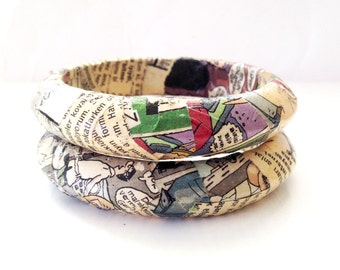 Geeky bangle, paper bangle set, upcycled paper jewelry, paper jewelry, quirky bangles, funky jewelry, illustration jewelry, quirky jewelry