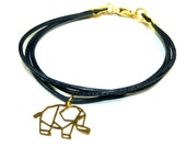 Fine Origami Animal Leather Bracelet goldcolored - special gift best friends - bunny fox elephant piglet