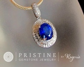 Ceylon Blue Sapphire Pendant in 14K Gold and Diamond Halo September Birthstone Gemstone Jewelry