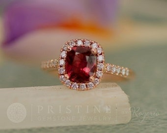 Rose Gold Engagement Ring with Red Spinel Ruby Alternative Diamond Halo Wedding Ring Anniversary Ring