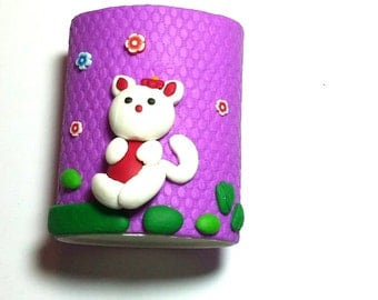 New Handmade Polymer Clay Fimo Cat white Pen Pencil Holder