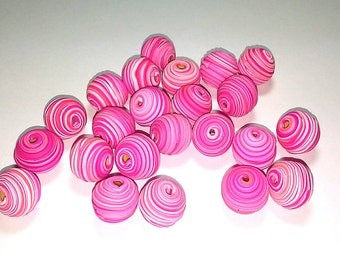 10 Fimo Polymer Clay Fimo Beads Round Spiral fuschia pink white color 14mm