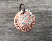 The Zero (#125) - Distressed Hammered Steampunk Cogs Copper Gold Unique Handstamped Pet ID Tag Layered 2 Disc Dogs