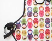 Art Smock in Russian Nesting Dolls--Size 2T-5T--Designer Robert Kaufman Fabrics--CPSIA Compliant--Ready to Ship
