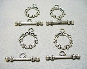 Bar Toggle Clasp Antique Silver 14MM Ring and 20MM