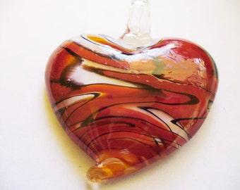 Pendant  Lampwork Glass Heart Red 50x43MM