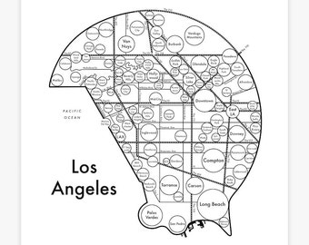 "Los Angeles Map 17.5"" x 17.5"" Screenprint. Beautiful Minimalist Simple Graphic Neighborhood Art Print. Cool Travel Poster Design."