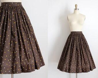 vintage 1950s skirt // 50s brown polka dot full skirt