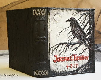 Personalized raven book, Magic book, Pagan Diary, Gothic Wedding, Book of Shadows, Magic Spell book diary, Crow Halloween wedding guest book