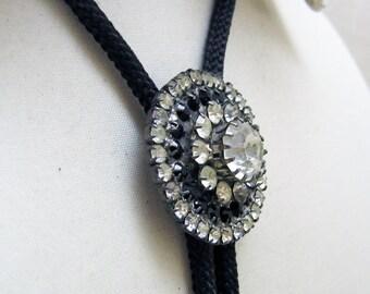Black and White Rosette Bolo Tie