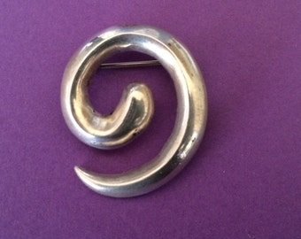 Native American Sterling Swirl Brooch or Lapel Pin