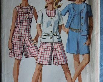 Simplicity Pattern Culotte Dress Jacket Belt 1967 Vintage Sewing