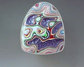 Fordite- Detroit Agate- Purple Sparkle- Michigan Made- Hammered Sterling Silver- Big Fordite Statement Ring