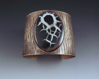 Septarian Nodule- Fossil- Tree Texture- Bronze Statement Cuff Bracelet