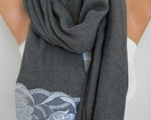 an exclusive design Gray Pashmina Scarf, Shawl,Wedding Scarf,Bridal Scarf,Bridesmaid Gift,Cowl,Gift Ideas For Her,Women Fashion,oversized