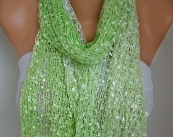 Neon Pistachio Knitted Scarf, Wedding Shawl,Bridal Accessories,Bridesmaid Gift,Cowl Scarf, Gift Ideas For Her, Women Fashion Accessories