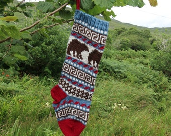 Fair Isle Christmas Stocking with bears Holiday Xmas Handknit Stocking FairIsle (Ready to Ship) Ornament Decoration Modern Christmas LBR