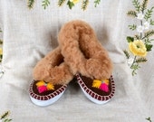 Warm leather slippers SIZE US 6.5 leather shoes sheepskin cozy women slipper gift leather embroidered moccasins accessories moccasin slipper