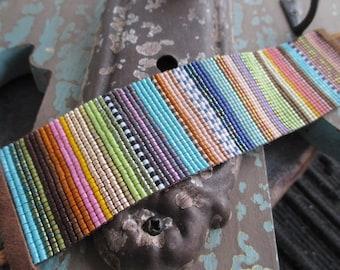SALE Fall wide beaded stripe leather cuff bracelet - Serape - colorful ombre fringe tassel boho by slashKnots