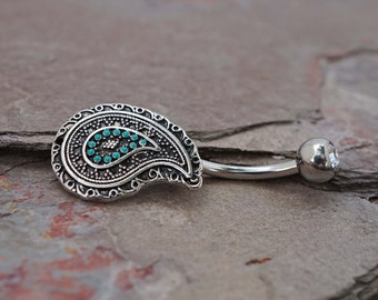Belly Button Rings Boho Paisley Turquoise