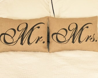 Mr. and Mrs. Burlap Pillows, Wedding, Bridal, Anniversary, Set of Two, INSERT INCLUDED
