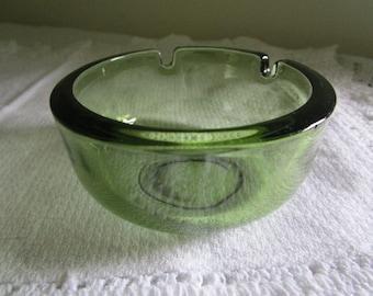 Olive Green Round Glass Ashtray
