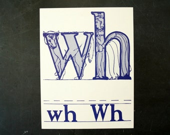 """Vintage Letters """"WH"""" Flashcard / Phonics Card, 7"""" tall (c.1958) - Collectible, Altered Art Ephemera, Home Decor, and more"""