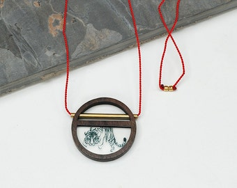 Walnut, Brass and Silk long Circle necklace with Shere Khan