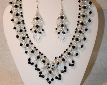 Beaded Necklace Earrings Set Black Silver White Crystals and Pearls Pierced Earrings Handmade Wedding Formal or Party