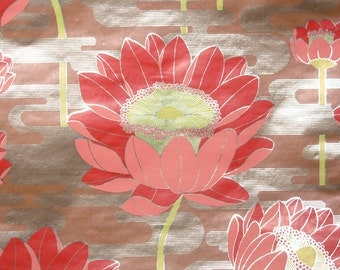 Retro Wallpaper by the Yard 70s Vintage Mylar Wallpaper - 1970s Red Water Lily Floral
