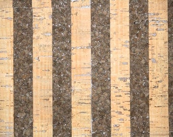 Retro Cork Wallpaper by the Yard 70s Vintage Cork Wallpaper - 1970s Cork Wallpaper Real Cork-Made in Japan-Brown Stripe