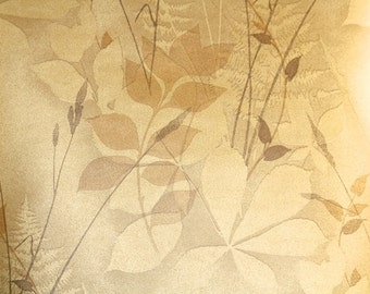 Retro Wallpaper by the Yard 70s Vintage Wallpaper - Metallic Bronze and Gold Leaves