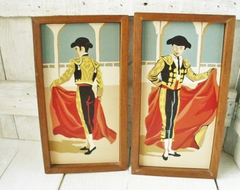 2 vintage paintings paint-by-number framed matador 1960s