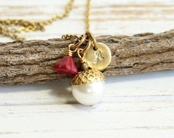 Personalized Gold Acorn Necklace