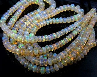 Ethiopian  Opal  Smooth Rondelle  Beads Size 6MM to 9mm Approx 16 '' AAA High Quality Wholesale Price