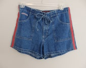 vintage 80s No Excuses denim jean Shorts / High waisted denim Shorts / Women's Large