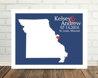 Missouri Wedding Gift Missouri Map Missouri Print Missouri Poster Wedding Present State Map Art Valentines Day Gift for Him