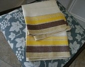 UNUSED Pair of 2 Vintage 1940's Irish Crisp Linen Kitchen Glass Towels Yellow Brown Striped Made from Vintage Toweling Fabric