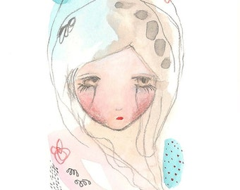 Original sad girl drawing artwork 4x6 painting portrait
