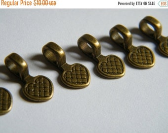 ON SALE 40 x Antique Brass Bronze Bails Brass Pendants Heat Shaped Flat Pad Necklace Bail 17x8mm
