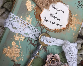 Sage Country/ Barn Wedding -vintage Inspired Sign in guest book and photo album all in one