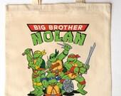 Ring Bearer or Big Brother customized Tote Bag - Ring Bearer Gift - TMNT - Little Boy's birthday gift - Teenage Mutant Ninja Turtles