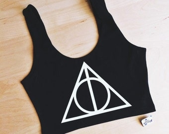 Deathly Hallows Spandex Crop Tank - Inspired by Harry Potter - Made in USA by So Effing Cute