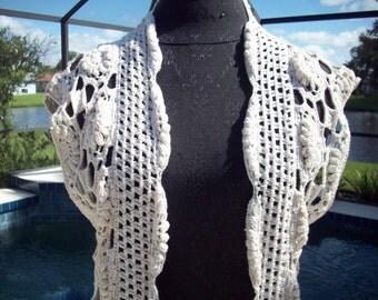 Long Cream Crohet/Knit Sweater Vest