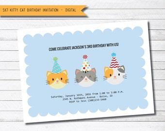 Blue Kitty Cat Digital Printable Birthday Party Invitation